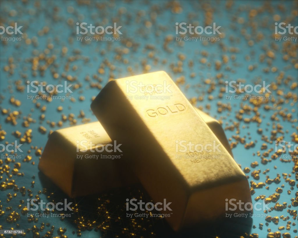 Gold bar 1000 grams, in the middle of gold nuggets. Gold exploration...