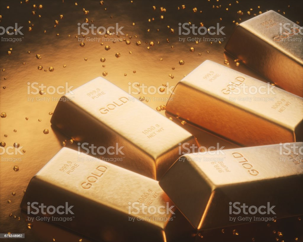 Mining Gold Nuggets stock photo