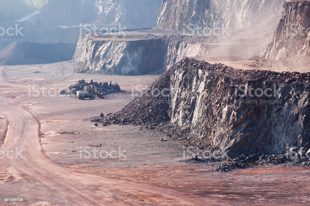 Mining Industry area. View into a open-pit-mine. stock photo