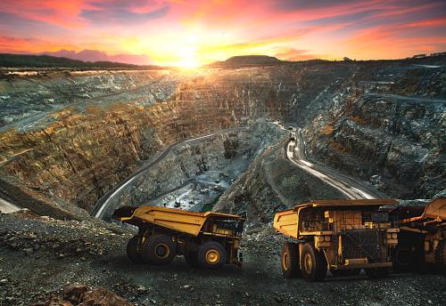 Big dump truck loading for transport minerals gold,Mining industrial at Thailand