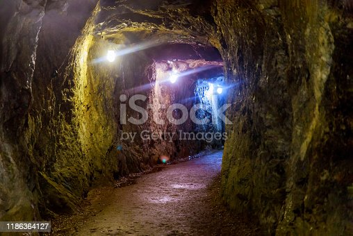 Mining industry underground mine tunnel transportation with lights