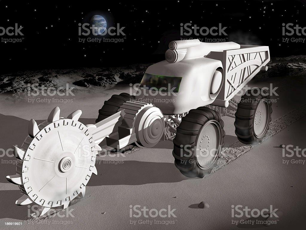 Mining on the moon stock photo