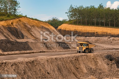 Over burden moved by dump truck at coal mining