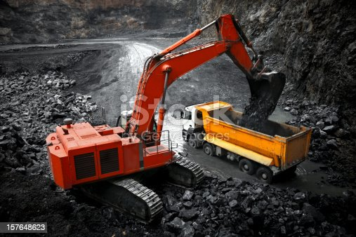 Excavator working in a Mineral quarry.