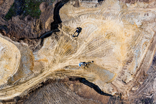 Mining quarry with machines at work.Drone photography.