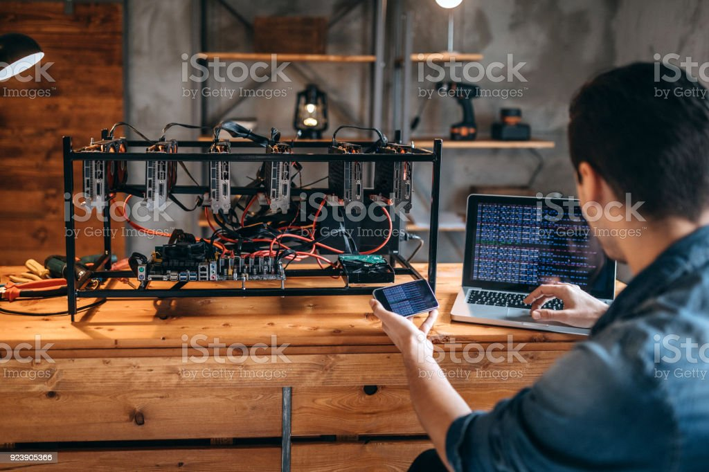 Mining rig for cryptocurrency stock photo