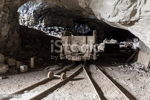 istock Mining trolley in a tunnel of an abandoned lime mine in Switzerland 1007719472