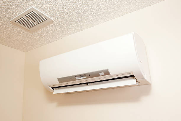 Mini-Split Heat Pump Heating and Air Conditioning Unit stock photo