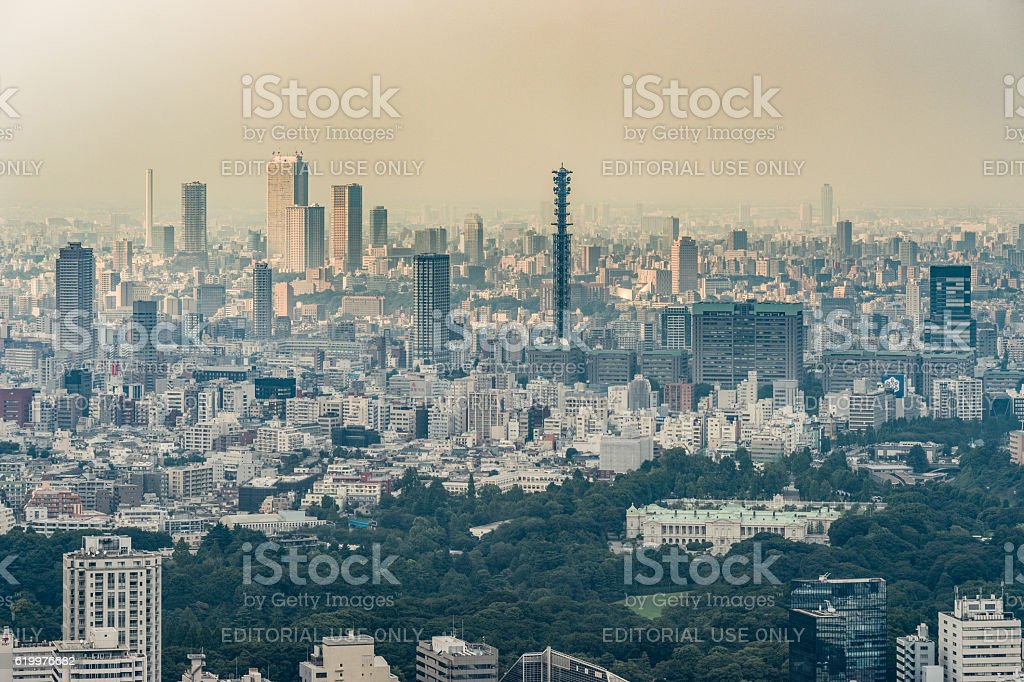 Ministry of Defense and antenna in Tokyo. stock photo