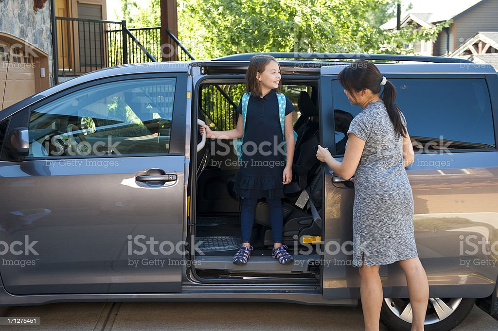 Minivan To School stock photo