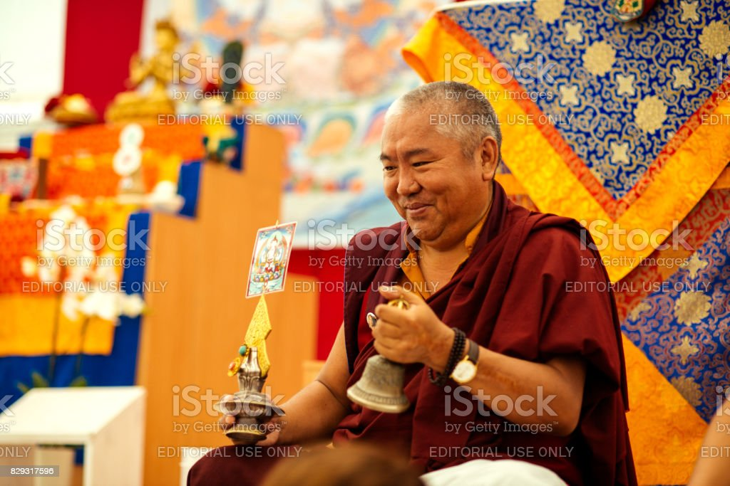 Minkovka, Kharkiv, Ukraine. Tibetan Buddhist teacher Nedo Rinpoche, Diamond Mind in retreat center in Ukraine in Minkovka stock photo