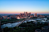 Aerial view of downtown Minneapolis at sunrise