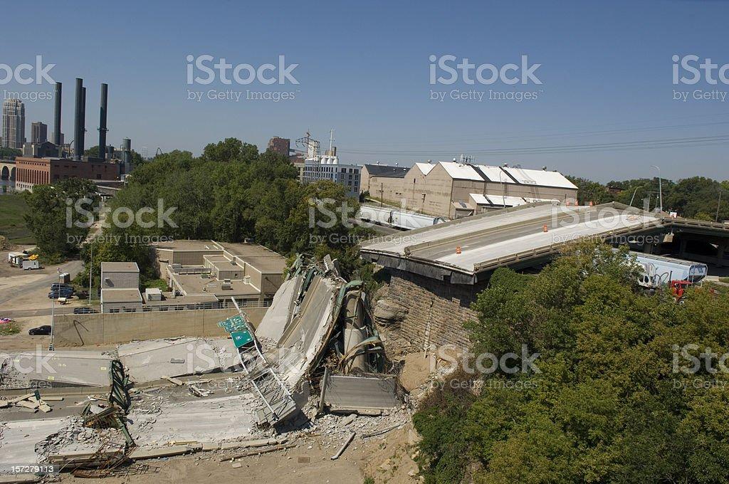 Minneapolis bridge collapse clean-up royalty-free stock photo