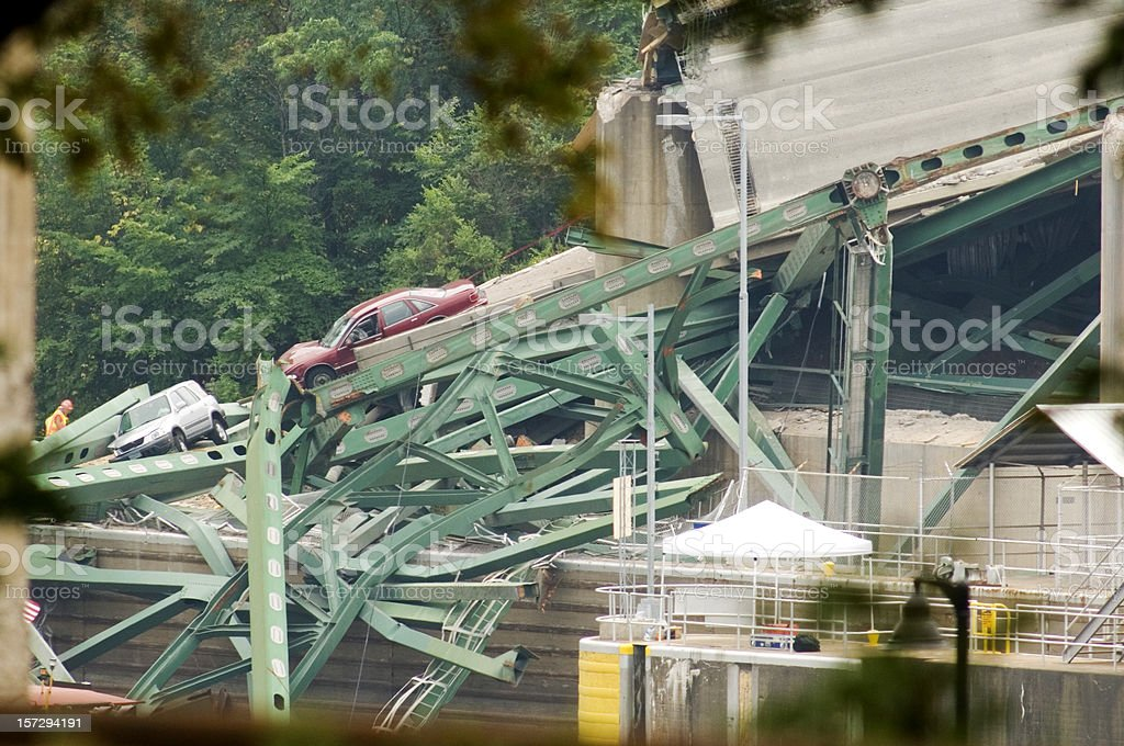 Minneapolis bridge collapse stock photo