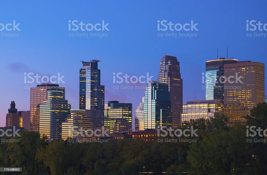 Minneapolis downtown skyline at dawn stock photo