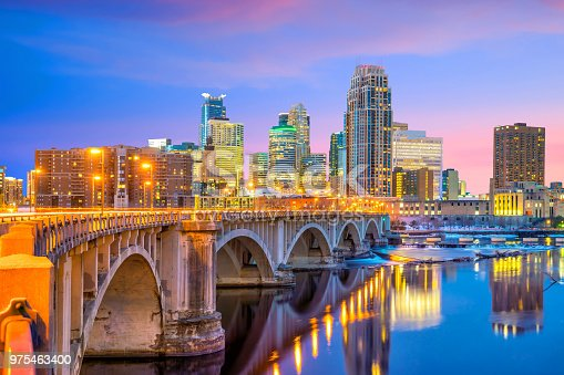istock Minneapolis downtown skyline in Minnesota, USA 975463400