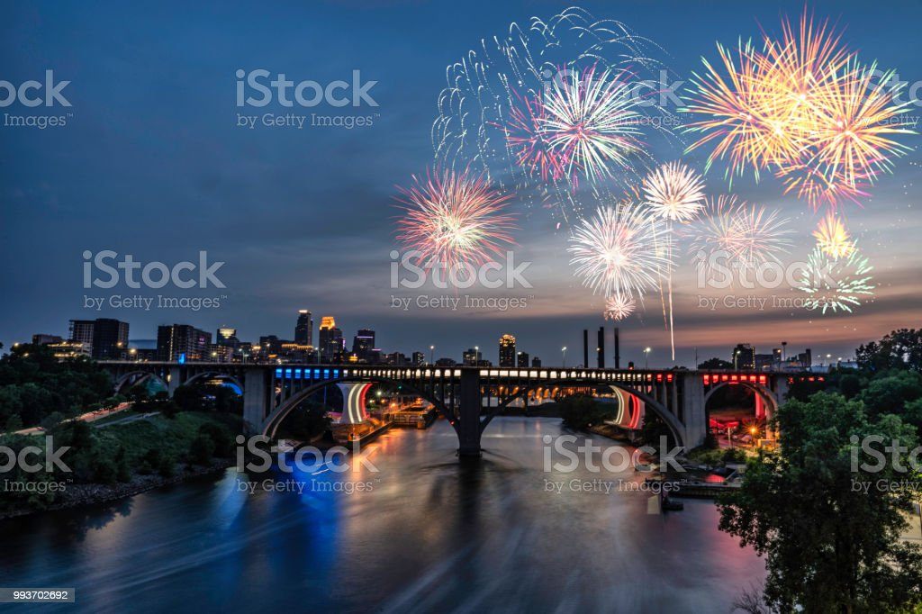 Minneapolis - Fireworks for the 4th of July - 2018 View of downtown Minneapolis and fireworks for the fourth of July Architecture Stock Photo