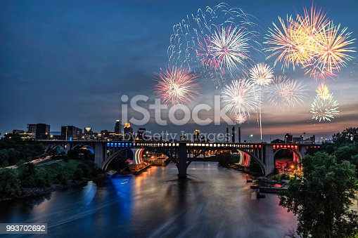View of downtown Minneapolis and fireworks for the fourth of July