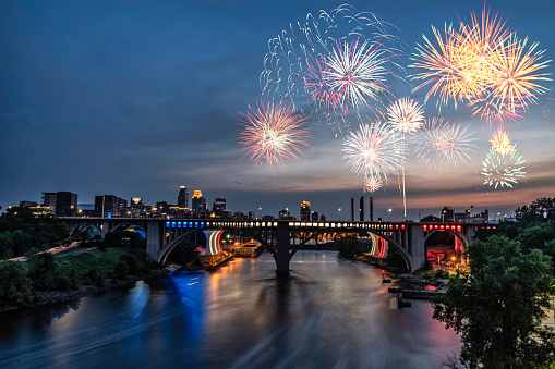 Minneapolis Fireworks For The 4th Of July 2018 Stock Photo - Download Image Now