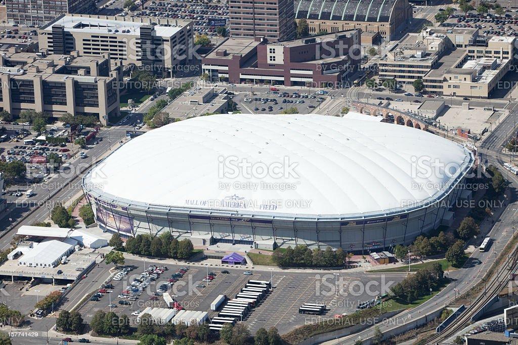 Minneapolis Metrodome, Mall of America Field Aerial royalty-free stock photo