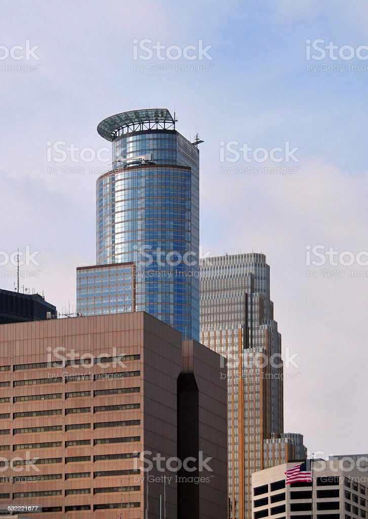 Minneapolis, Minnesota: Hennepin County Government Center and Capella Tower stock photo