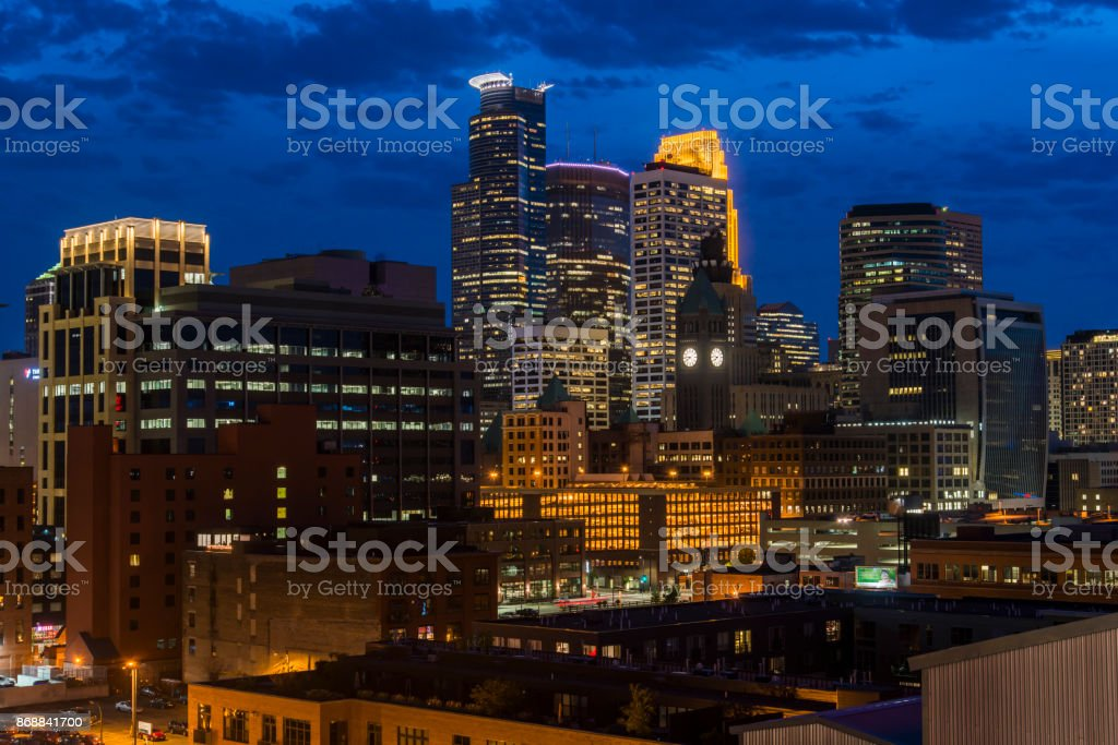 Minneapolis, Minnesota - September 23 2017:Minneapolis downtown skyline at night, Minnesota, USA stock photo