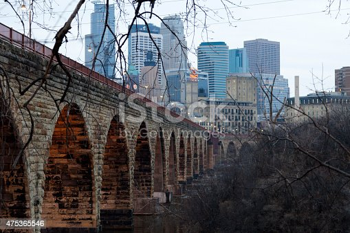 Minneapolis Minnesota skyline with stone arch bridge in the foreground. Image taken early morning in winter.