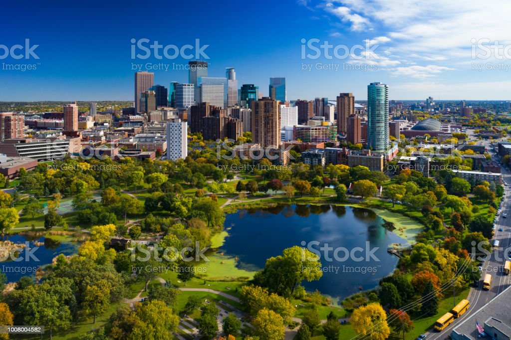 Minneapolis Skyline Aerial With Park And Lake stock photo