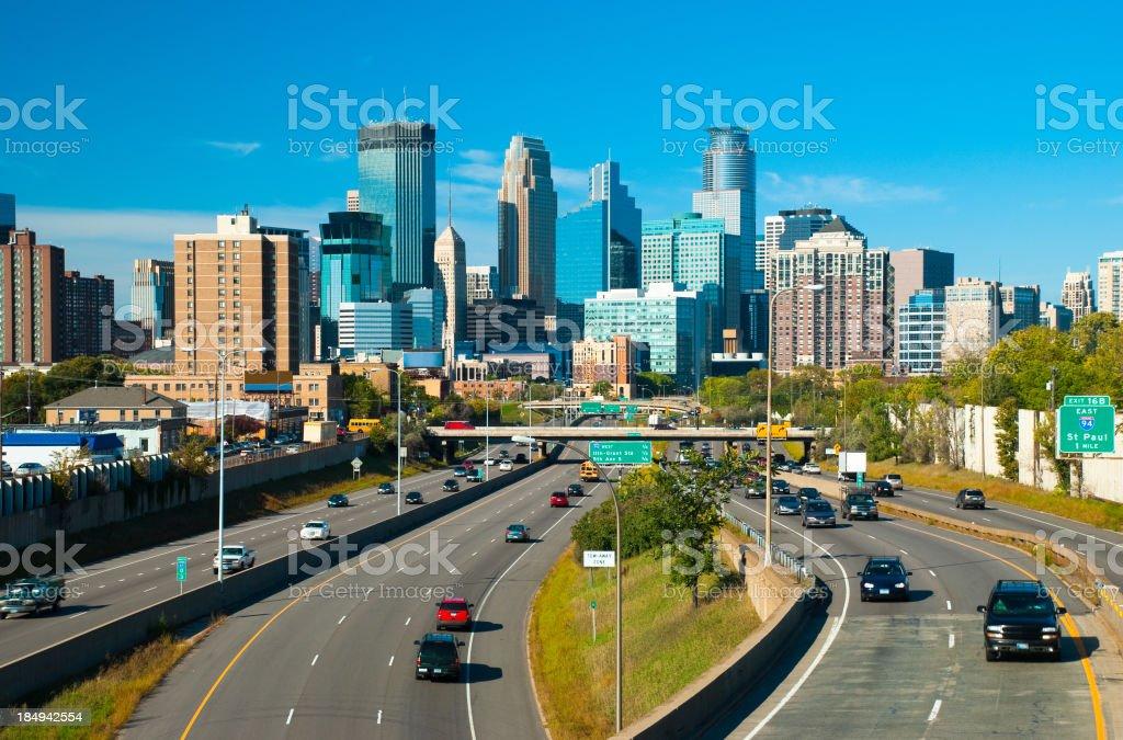 Minneapolis skyline and Highway stock photo