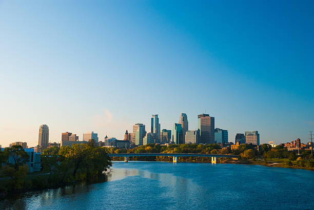Minneapolis skyline and River in the morning stock photo