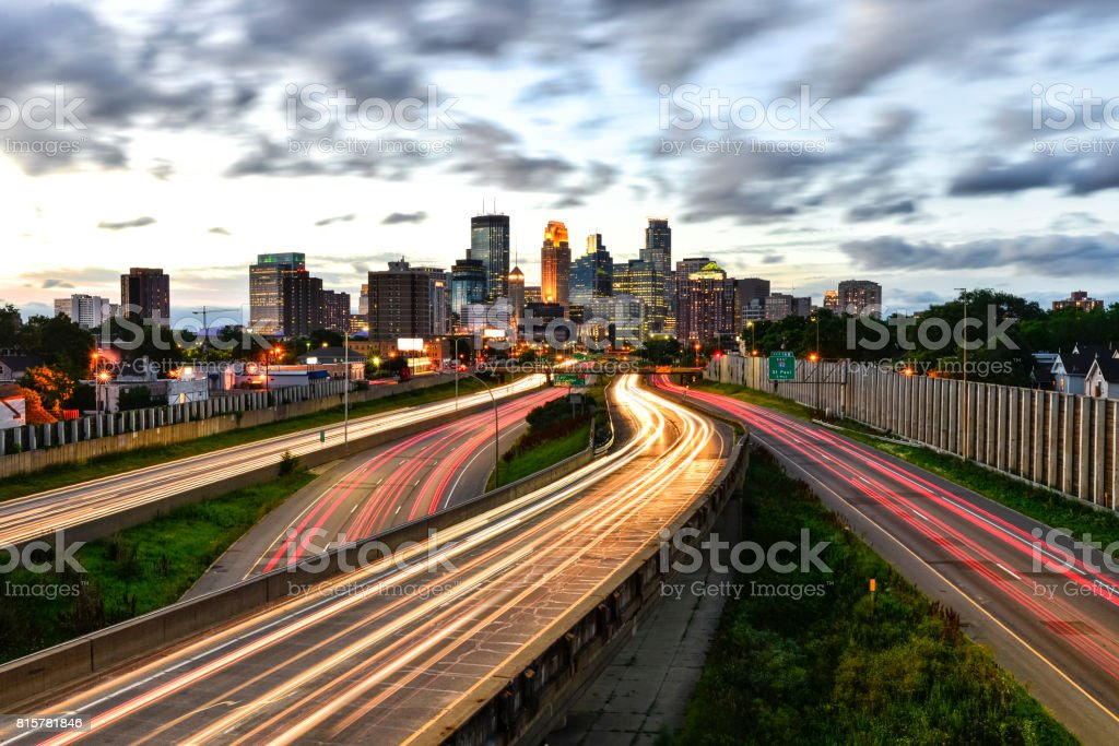 Minneapolis Skyline and Traffic Light Trails stock photo