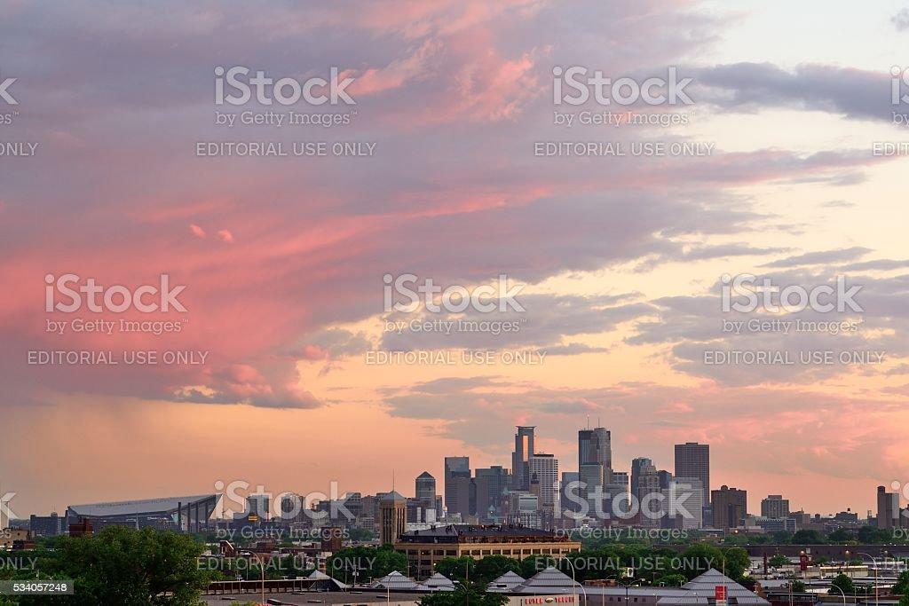 Minneapolis Skyline at Sunset stock photo