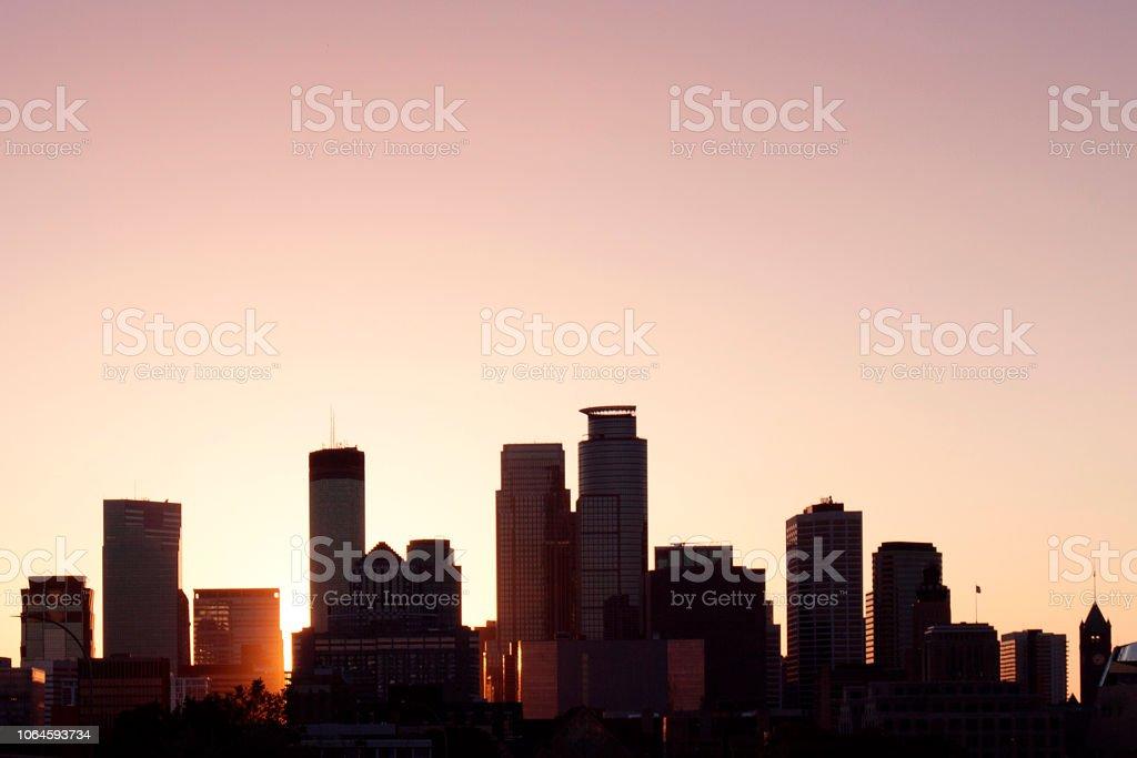 Minneapolis skyline at sunset time stock photo