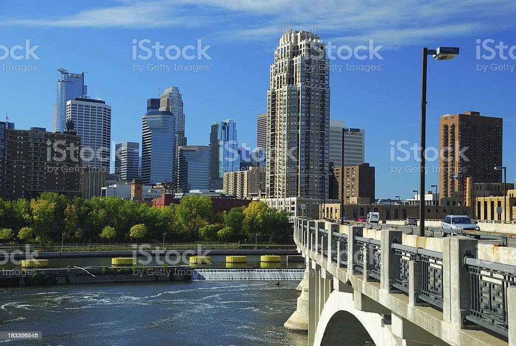 Minneapolis skyline, bridge, and Mississippi River royalty-free stock photo