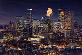 Minneapolis Skyline at Night - Aerial