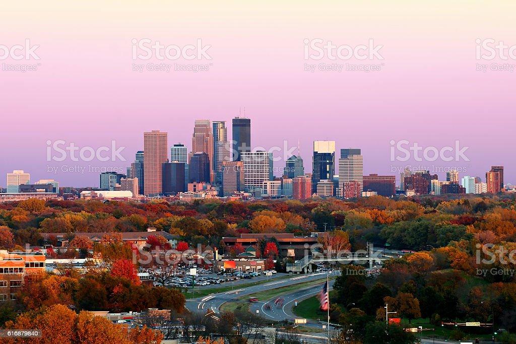 Minneapolis Skyline during Autumn at Sunset from Plymouth, Minnesota stock photo