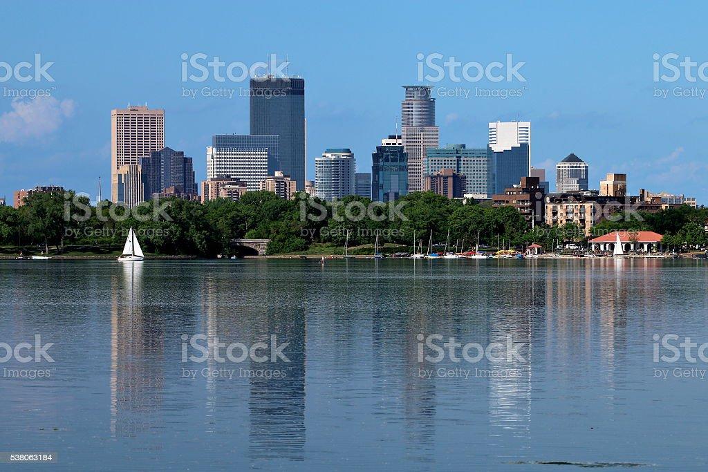 Minneapolis Skyline Reflecting in Lake Calhoun stock photo