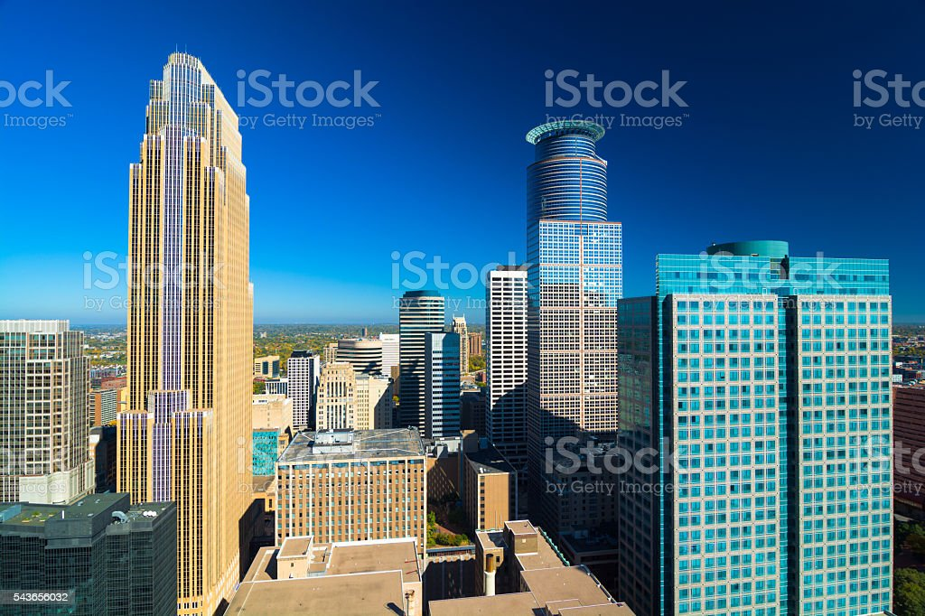 Minneapolis Skyline View from High Up stock photo