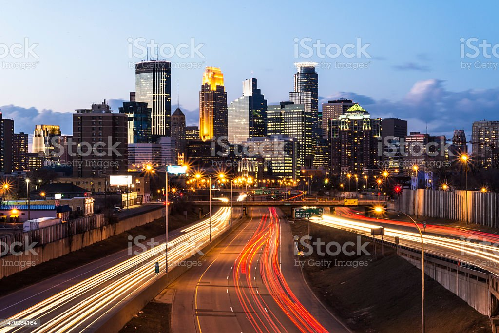 Minneapolis Skyline with Car Light Trails stock photo