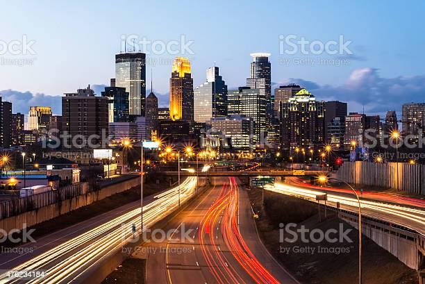 Minneapolis Skyline with Car Light Trails