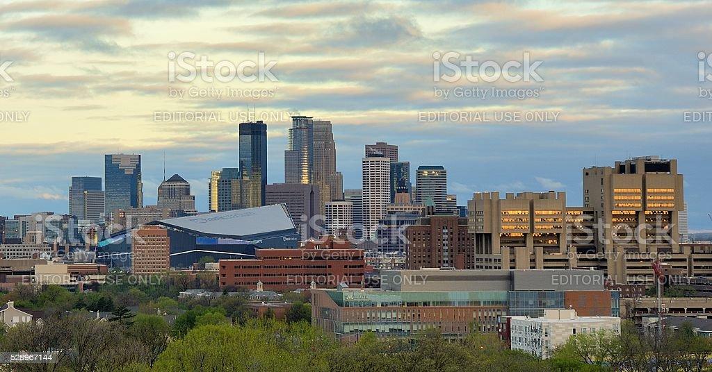 Minneapolis Skyline with Minnesota Vikings US Bank Stadium stock photo