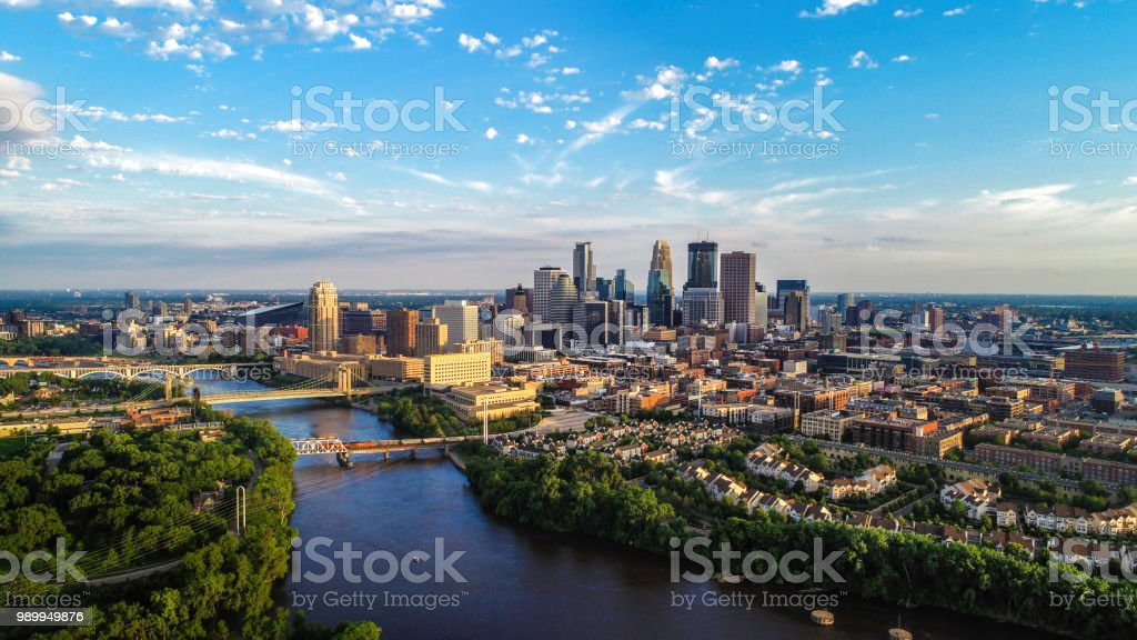Minneapolis - Summer Cityscape Aerial View of Minneapolis and the Mississippi river in summer Above Stock Photo