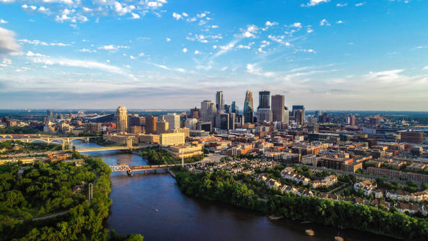 Minneapolis - Summer Cityscape Aerial View of Minneapolis and the Mississippi river in summer minnesota stock pictures, royalty-free photos & images