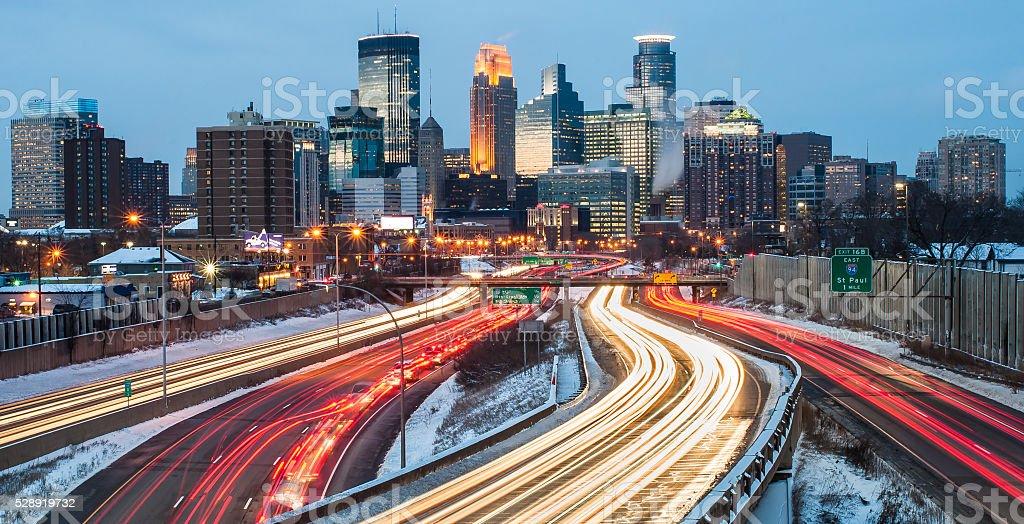 Minneapolis Winter Commute stock photo