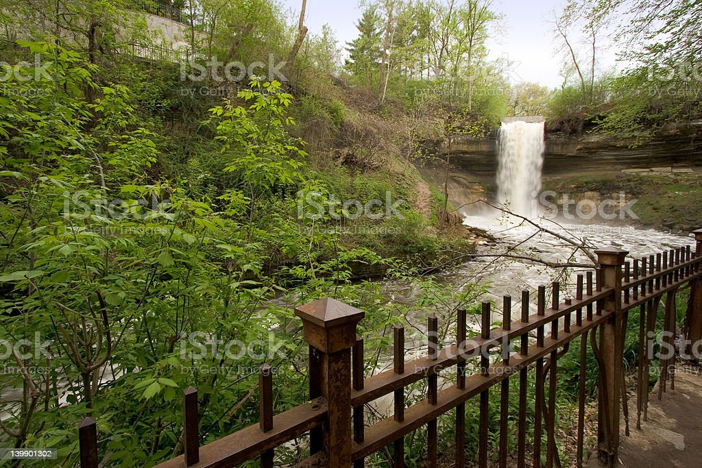 Minnehaha Falls in early spring royalty-free stock photo