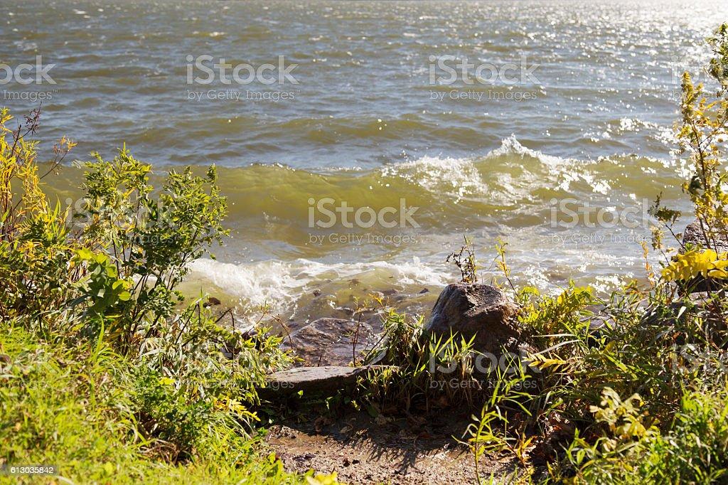 Minnesota Autumn - Windy at the Lake stock photo