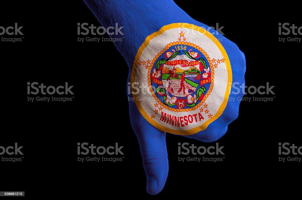 minnesota flag thumbs down gesture for failure stock photo