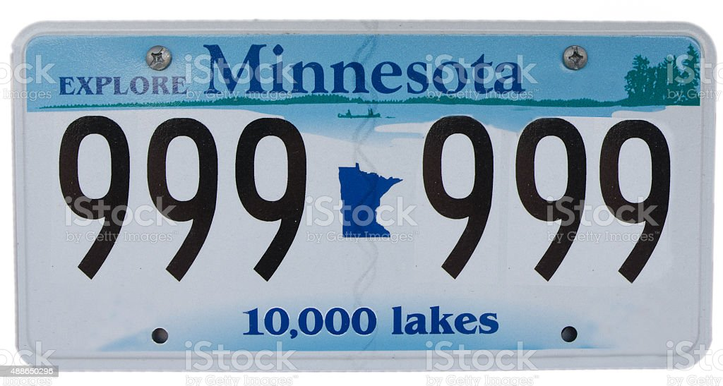 Minnesota licence plate with fake number stock photo