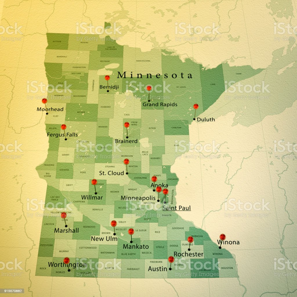 Minnesota Map Square Cities Straight Pin Vintage Stock Photo More