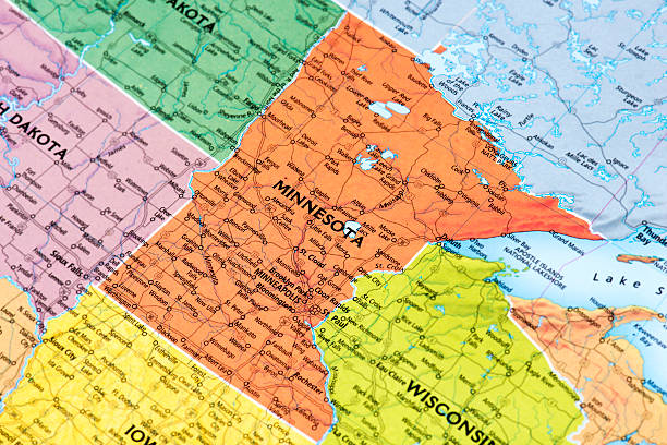 Minnesota Map of Minnesota State. Selective focus.  minnesota stock pictures, royalty-free photos & images